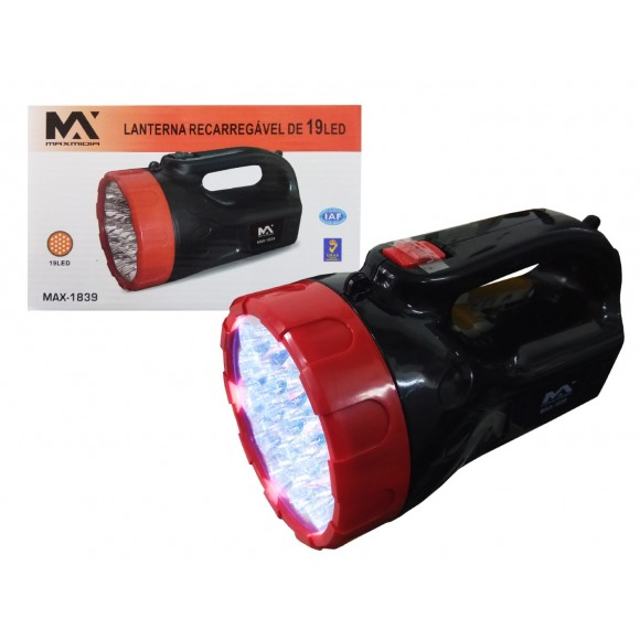 LANTERNA  MANUAL RECARREG. 19 LED   MAX-1839